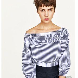 Brand new Zara off-the-shoulder poplin top